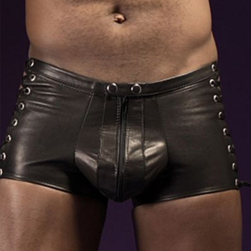 M-3XL Sexy Tight Black PU Leather Shorts Men Latex Pants Lace-Up Bondage Jockstrap Lingerie Zipper Gay Male Boxers Panties