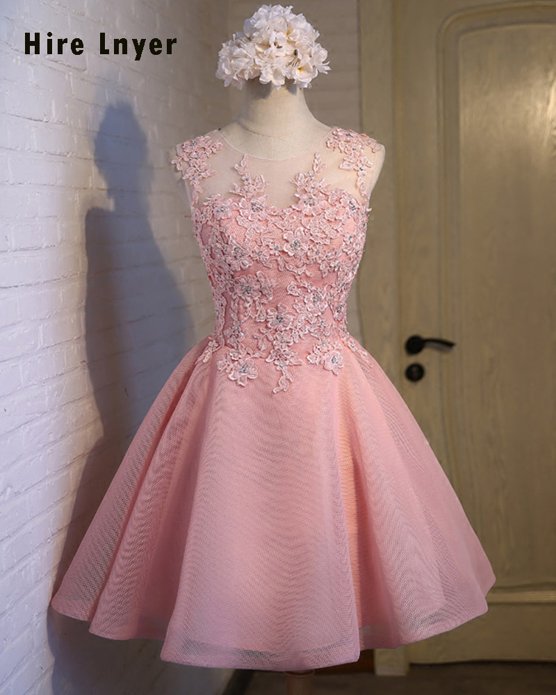 Najowpjg 2019 New Arrive Occasion Gowns Vestido Appliques Beading Above Knee Mini Pink Tulle Bridesmaid Dresses Short Jurken