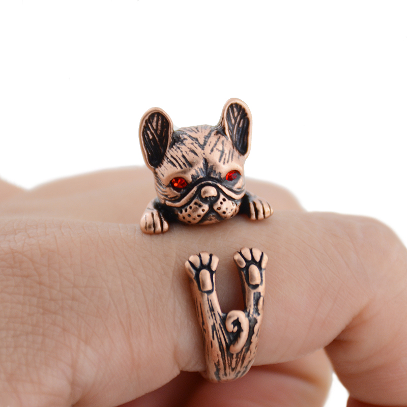 Bright Retro Punk French Bulldog Dog Rings For Women Men Anel Boho Brass Knuckle Anillos Couple Ring Gift For Pet Lovers Jewelry 2018