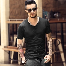Tops Tees Short Sleeve t-shirt  men's brand fashion Slim Fit sexy V neck T shirt men 2018 New Mens Summer hot sale