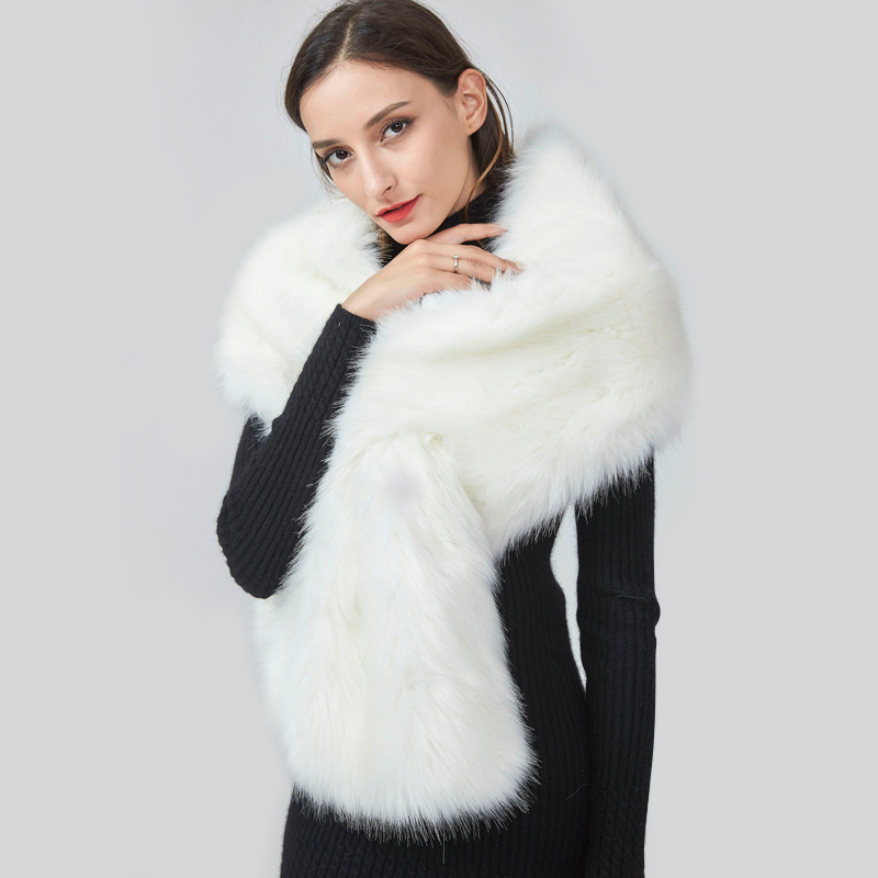 Imitation fur lengthening bride wedding dress big shawl hair collar neck scarf fox hairy fake collar winter white girl