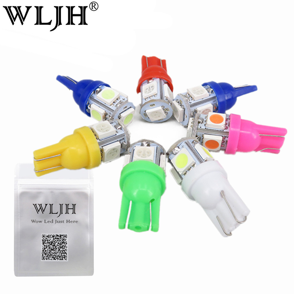 WLJH 10 x Bright White 360 Degree 5050 SMD 168 194 2825 w5w T10 LED Car Light Bulbs For License Plate Lights wholesale 2pcs lot bright double no error t10 led 194 168 w5w canbus 6 smd 5050 led car interior bulbs light parking width lamps