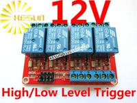 FREE SHIPPING 4 Channel 12V Relay Module High Low Level Trigger 4 Road Relay Modules Expand