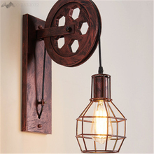 LFH American Country Style Pulley Vintage Iron Wall Lamps Retro Lights for Dining Room Living Room Bedroom Restaurant Bar Decor a1 american shipping retro iron chandelier lamp rural living room lights restaurant bedroom led high end lamps
