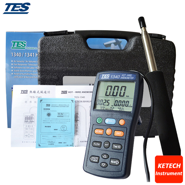 Hot Wire Thermo Anemometer Digital Anemometer Air Wind Flow Meter TES1340