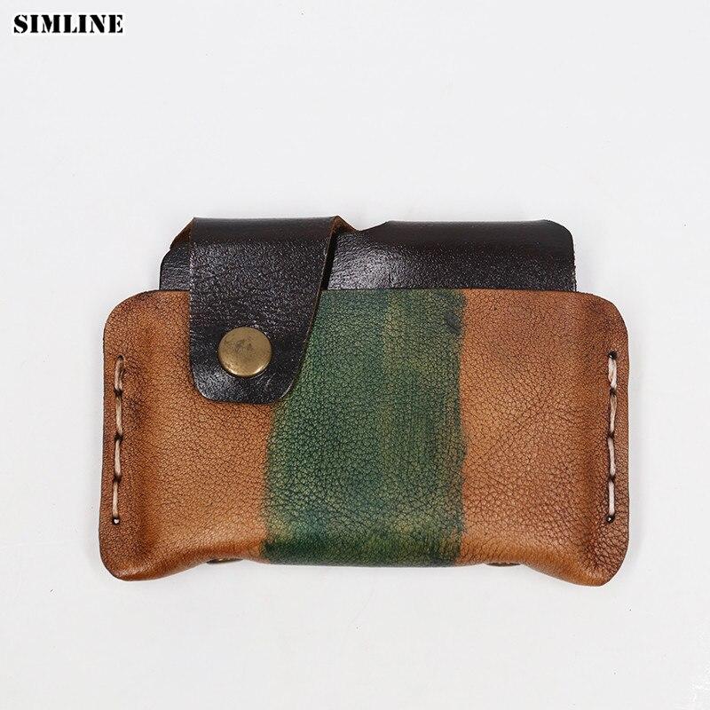 वेजिटेबल टेंड लेदर लेदर मेन वॉलेट विंटेज हैंडमेड काउहाइड शॉर्ट क्रेडिट कार्ड होल्डर छोटे स्लिम वॉलेट केस कॉइन पर्स