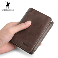 WilliamPOLO Wallets Men Short Trifold Genuine Leather Soft Slim Mini Small Zipper Multi Cards Holder Plain Litchi Grain Purse