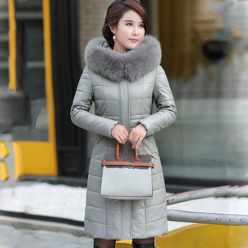 Plus Size 7XL 8XL Thicken Winter Jacket Women Fur Collar Hooded White Duck   Down     Coat   Warm Jacket Women Slim Long Parka Yp1251