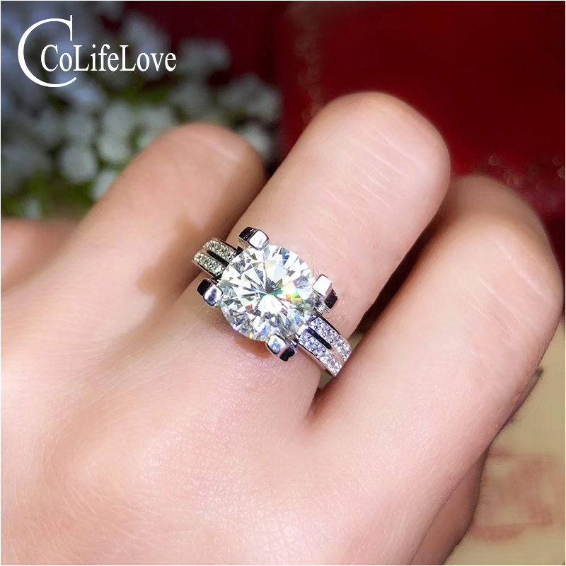 CoLife Jewelry Silver Moissanite Wedding Ring for Woman 2ct 3ct D Color VVS1 Grade Moissanite Ring 925 Silver Engagement Ring