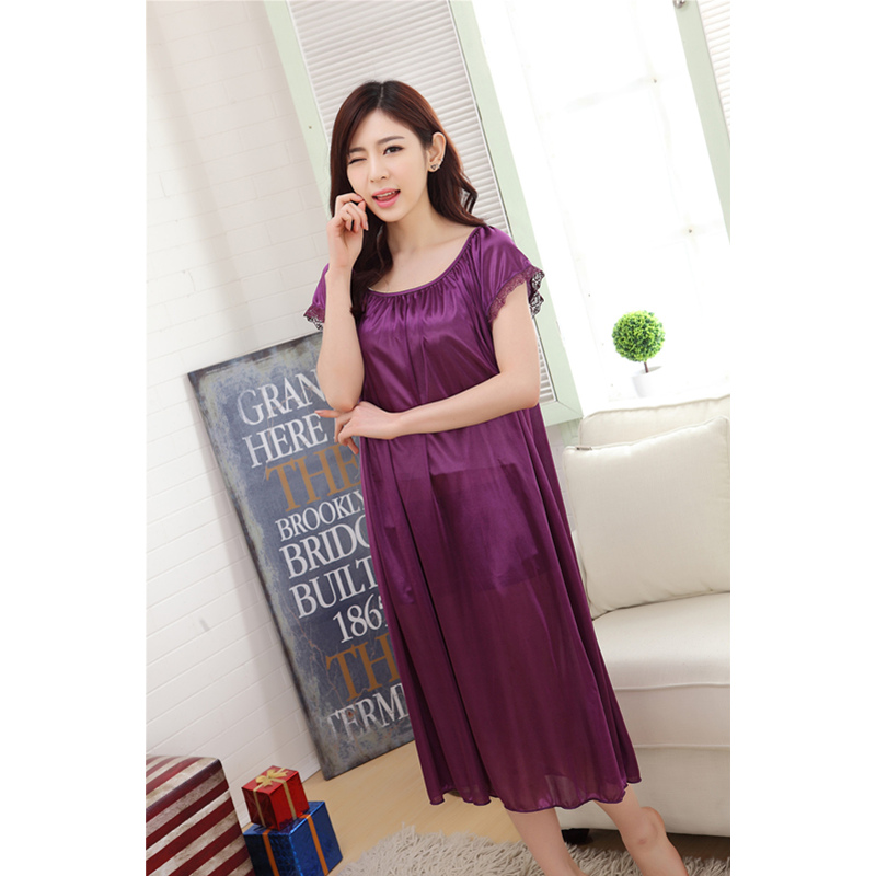 2018 New Summer Sexy Sleep Clothing Plus Size Nighties Lingerie Homewear Women Nightgown Silk Sleepshirts Short-Sleeve Sleepwear