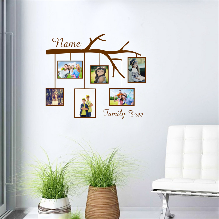 Family tree custom name vinyl wall sticker photo frame creative family tree custom name vinyl wall sticker photo frame creative personalized wall decals for home living room decoration in wall stickers from home garden amipublicfo Choice Image
