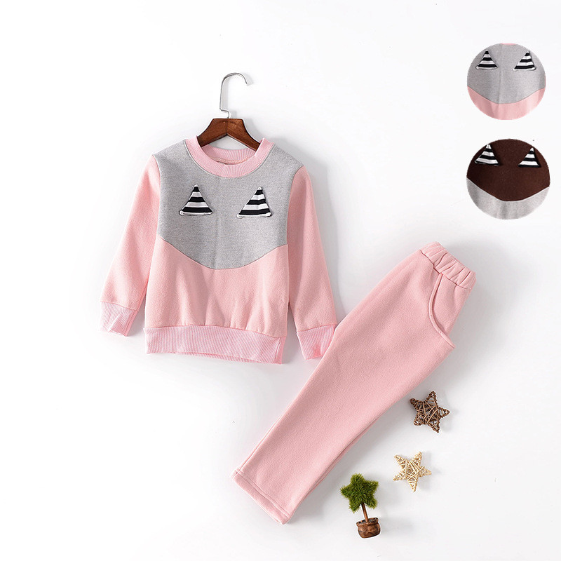V-TREE Fleece Girls Clothing Set Winter Warm Sport Suit For Boys Toddler Tracksuit Shirt+pants Baby Clothes Sets 2-8 Years