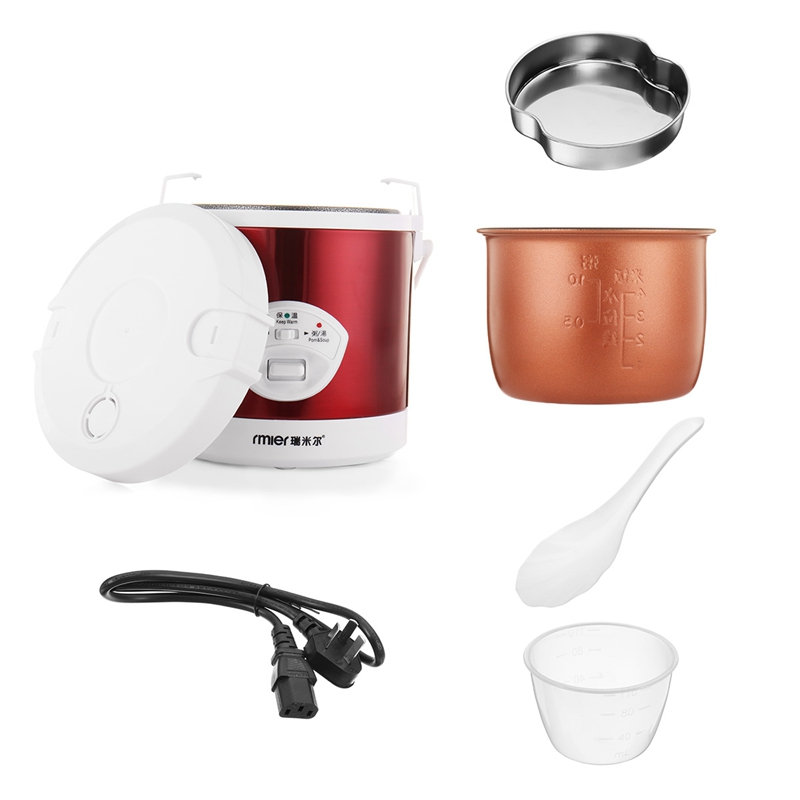 1.2L Portable Rice Cooker 220V 200W Multifunctional Cook Rice Porn&Soup Automatic Temperature Control Food Warmer Stain Steel 220v 600w 1 2l portable multi cooker mini electric hot pot stainless steel inner electric cooker with steam lattice for students