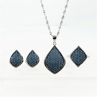 Red/Blue/Black Natural Stone 925 Sterling Silver Women Jewelry Set S925 Necklace Ring Stud Earrings Sets Turkish Ottoman Style