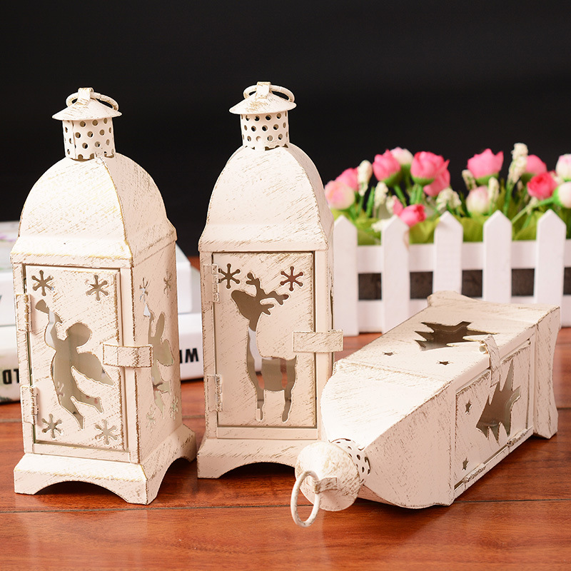 Home Decor Moroccan Retro White Candlestick Iron Craft Candle Holder For Outdoor Indoor Bar Home Decoration Sconce Lanterns For Candles