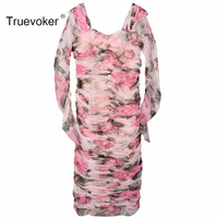 Truevoker Spring Designer Dress Women S High Quality Long Sleeve Cute Rose Floral Printed Lace Draped