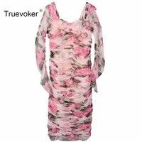 Truevoker 봄 디자이너 드레스 여성의 높은 품질 긴 소매
