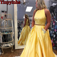 56f27b9832a8 Sexy Two Pieces Halter 2019 Prom Dresses Long Evening Gown Yellow Satin Party  Formal Gown for Graduation with Pockets YY117