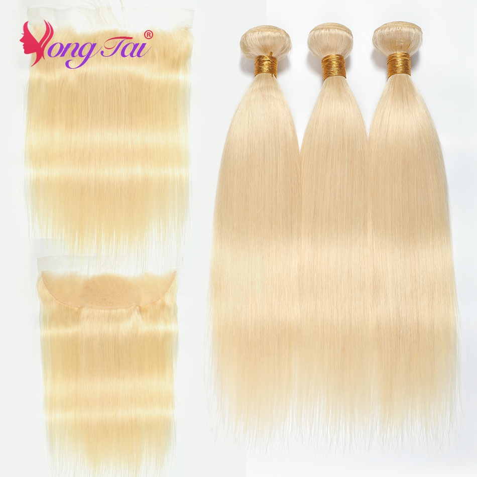 YuYongTai Brazilian Straight 613 Blonde Bundle With Frontal Remy Human Hair 3 Bundles With Lace Frontal