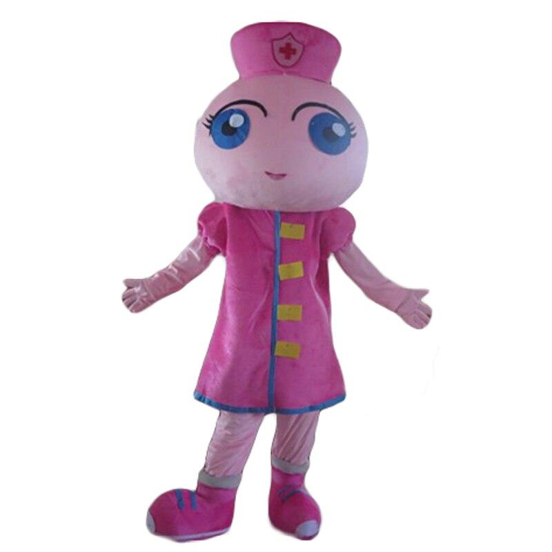 En gros nouveau rose long cheveux infirmière fille fantaisie robe cosplay mascotte Costume animal adulte mousse costumes livraison gratuite