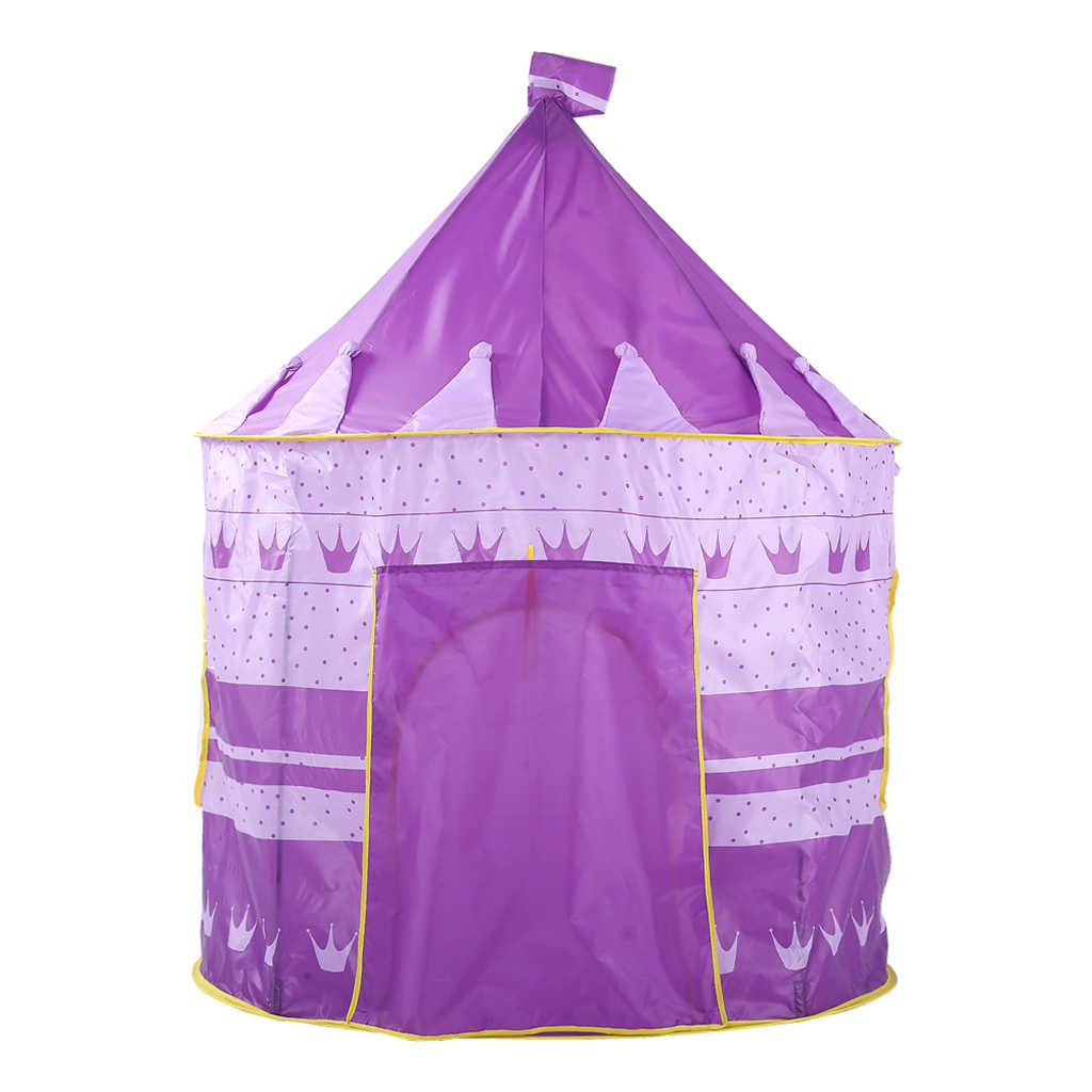 Foldable Kids Girl Purple Castle Play House Indoor Outdoor Pop Up Tent Toy