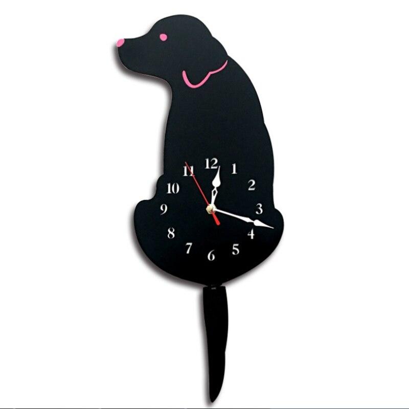 3d Creatieve Hond Acryl Muur Cock Met Swing Staart Stilte Voor Woonkamer Slaapkamer Keuken Home Decor-batterij Niet Inbegrepen (