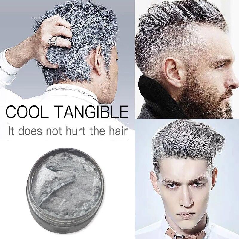 Mokeru DIY Hair Wax Color Cream Temporary Hair Dye Wax Grandma Ash Color Dye Cream One Time White Gray Paint Wax Clay For Hair