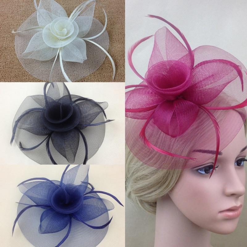 Lady Elegant Fascinator Hat Clips Hairpins Hair Accessories Wedding Party Church KH78 retail vintage lady women black wool felt pillbox fascinator party wedding hat with bow veil wine camel black