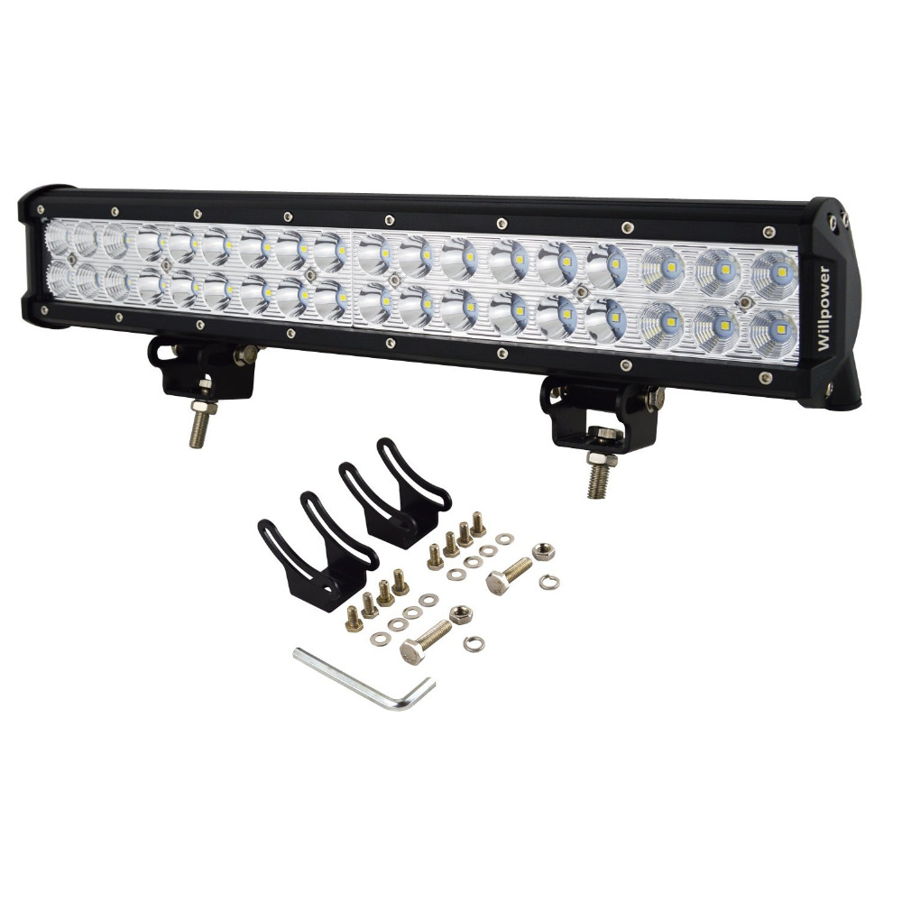 17inch Car LED Light Bar 108W LED Work Light Flood Spot Combo Beam Light Bar Driving Fog Lights For JEEP Off-road ATV SUV Boat oslamp 5d 32 led light bar 300w cree chips offroad led work light bar combo beam 12v 24v truck suv atv 4x4 4wd led driving lamp