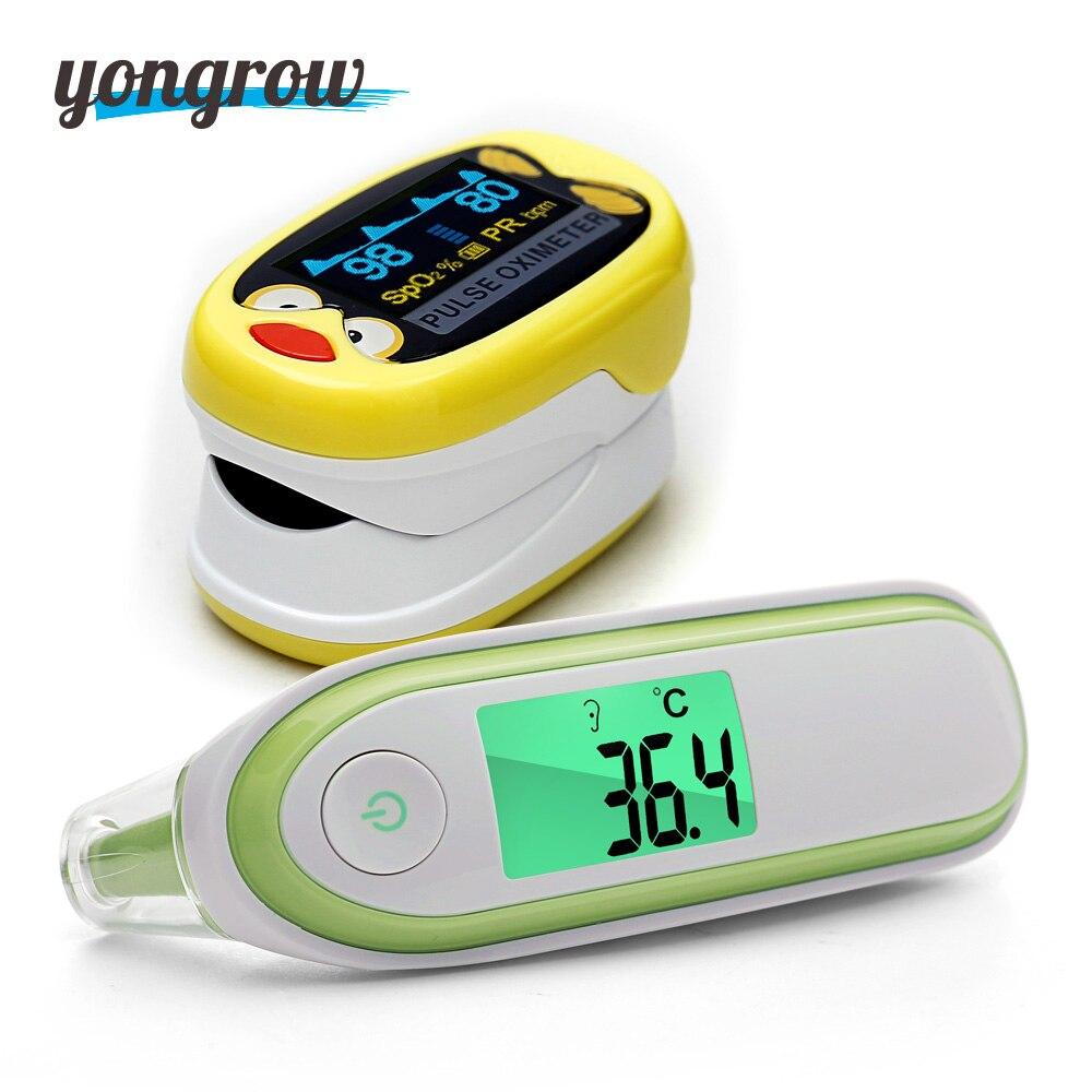 Yongrow del bambino di colore giallo Pediatrica Portatile della Punta Delle Dita Ossimetro di Impulso e Fronte Orecchio Termometro Medico LCD Digitale A Infrarossi