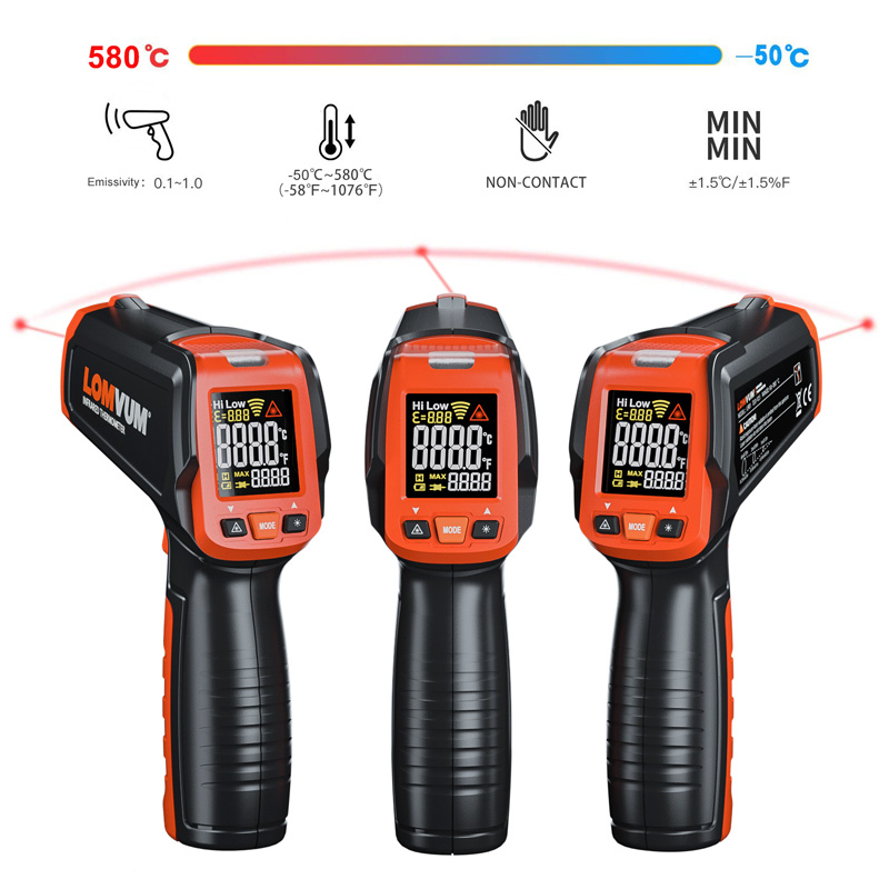 LOMVUM Digital Infrared Thermometer Non Contact Temperature Gun Laser Handheld IR Temp Gun Colorful LCD Display LOMVUM Digital Infrared Thermometer Non Contact Temperature Gun Laser Handheld IR Temp Gun Colorful LCD Display 50-580C Alarm