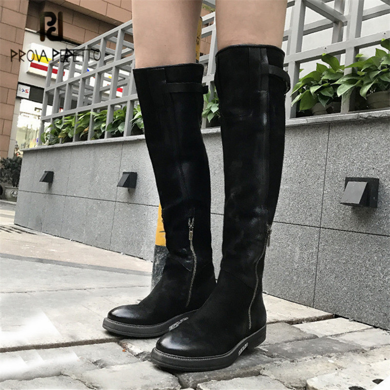 Prova Perfetto Black Women Knee High Boots Soft Leather Straps High Boots  Ladies Platform Rubber Shoes Flat Martin Boot 6311871336