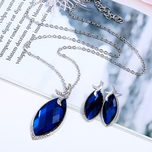Wedding Bridal Jewelry Necklace Earrings For Women Engagement Party Suit Fashionable Blue Color Crystal Jewelry Set Gifts