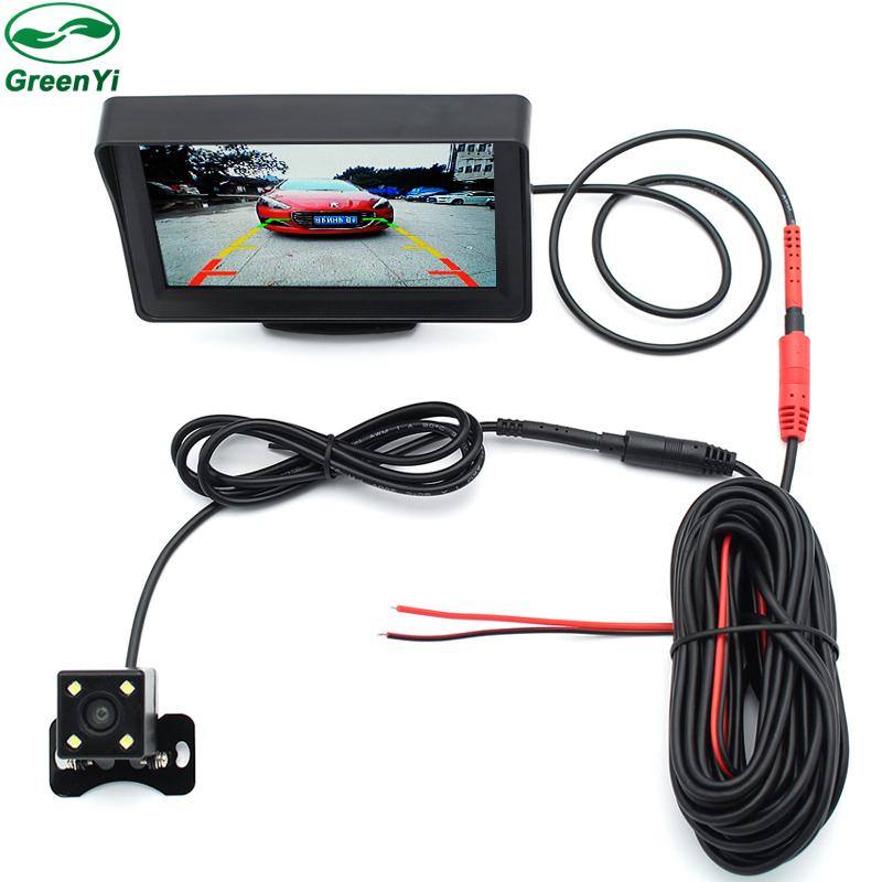 Prix pour TFT 4.3 Pouce Auto Rétroviseur Parking Monitor + 4 LED Night Vision CCD Vue Arrière Caméra de Stationnement Automatique Avec Miroir De Voiture Moniteurs 2 in1