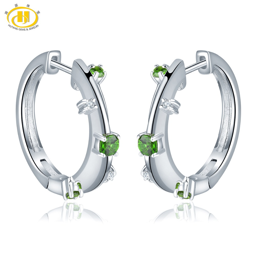 Hutang Chrome Diopside Hoop Earrings Natural Gemstone Topaz 925 Sterling Silver Fine Elegant Jewelry for Womens Best Gift NewHutang Chrome Diopside Hoop Earrings Natural Gemstone Topaz 925 Sterling Silver Fine Elegant Jewelry for Womens Best Gift New