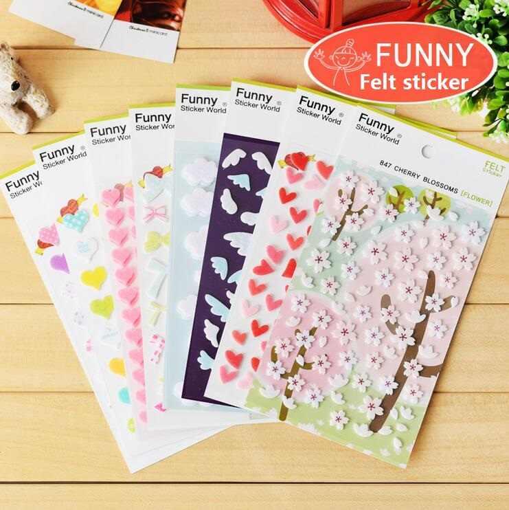 1pack/lot  Kawaii Korea Funny 3D felt series sticker Students' DIY Multifunction Diary Sticker Decoration label Fashion Gift set