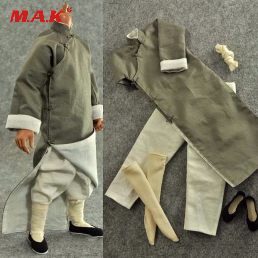 1/6 Scale Male Clothes Chinese Kung Fu Suit Long Grey Robe Costume Clothing for 12 Action Figure Body1/6 Scale Male Clothes Chinese Kung Fu Suit Long Grey Robe Costume Clothing for 12 Action Figure Body