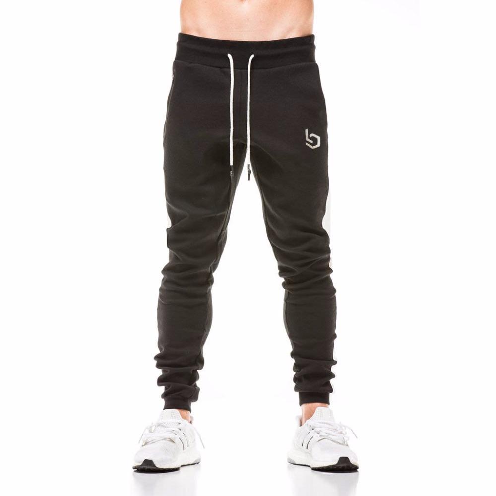 2018 New Spring Jogger Pants Men Cotton Patchwork Sweatpants Fitted Sweat Pants Active Casual Trousers Track Pant