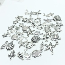 30pcs Mixed batch Tibetan silver starfish Sea turtles shell dolphins tortoise hippocampus Charm pendant jewellery findings