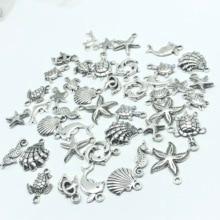 30pcs Mixed batch Tibetan silver starfish Sea turtles shell dolphins tortoise hippocampus Charm pendant jewellery findings