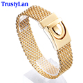 TrustyLan Wholesale Price Sales Fashion Male Jewelry Gold Plated Stainless Steel Mens Bracelets 2017 Nest Shape Bracelet Men