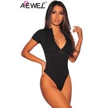 a8bcdf93909 ADEWEL Short Sleeve Bodycon Sheer Bodysuit Casual Front Ring Zipper  Turtleneck Skinny Black Sexy Club Women