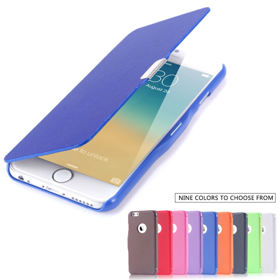 KISSCASE Ultra Thin Candy Color Magnetic Flip Phone Case For iPhone Models 12