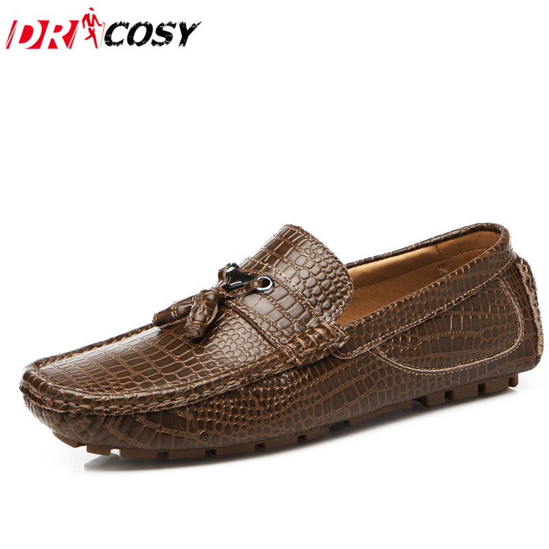 Fashion Genuine Leather Men Shoes New Men Loafers Spring&Autumn Men's Flats Shoes Casual Breathable Boat Shoes Sapatos Size38-44 2017 new fashion summer spring men driving shoes loafers real leather boat shoes breathable male casual flats