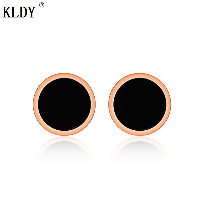 KLDY Korean <font><b>bts</b></font> earring rose gold female stud earrings male stainless steel fashion Jewelry Round couple Stud earing minimalista image