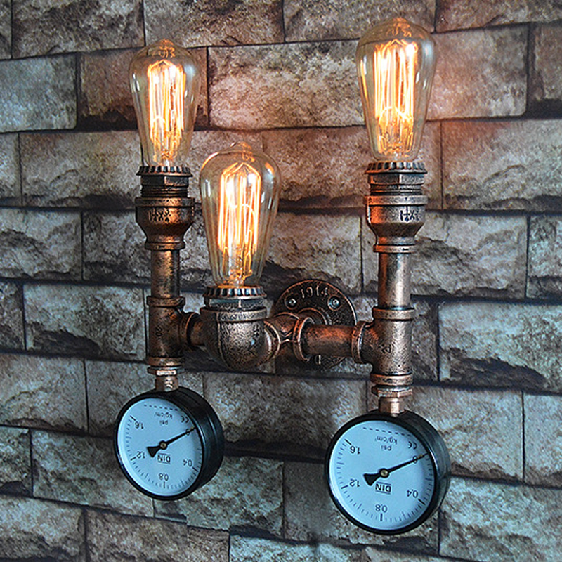 Loft lamps imitated water pipe E27 wall light lamp bedroom restaurant pub cafe bar corridor aisle light retro wall sconce bar colorful glass bowknot led corridor loft bedroom bar ceiling light lamp droplight cafe bar hall store restaurant decor