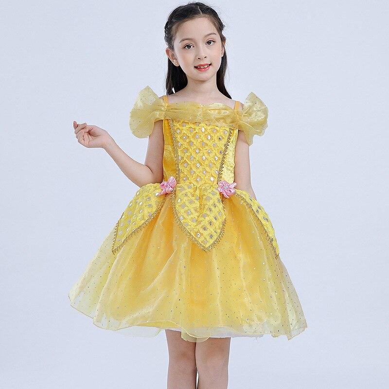 New Summer Children Belle Princess Dress Girl Short Halloween Bella Performance Costumes Kids Party Tutu Ballet Evening Dress
