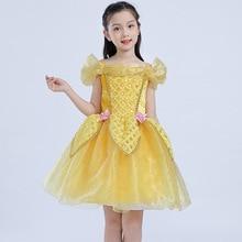 New Summer Children Belle Princess Dress Girl Short Halloween Bella Performance Costumes Kids Party Tutu Ballet Evening Dress фото