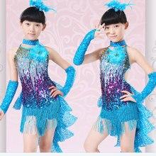 Kız Latin Dans Elbise Kostümleri Çocuk Giysileri Balo Salonu Yarışması Elbiseler Moda Leotard Pullu Payetli Püskül Salsa