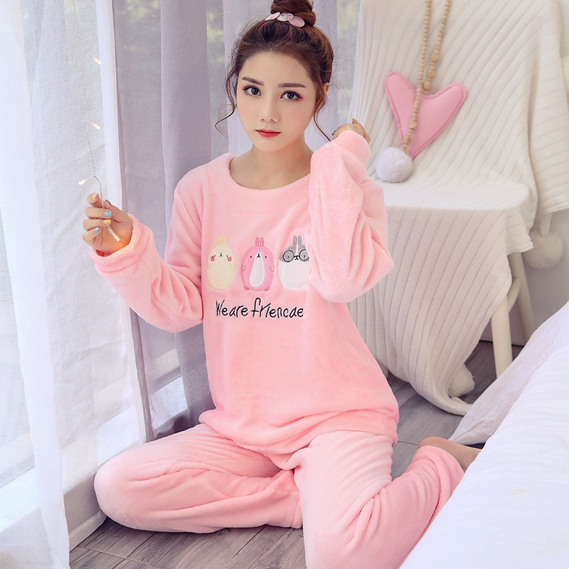 Pink Pull Size Cartoon Pajamas Set Ladies Underwear Flannel Winter Warm Animal Pajamas For Women Coral Top & Pants Sleepwear